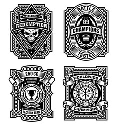 Ornate black and white emblem graphics set vector