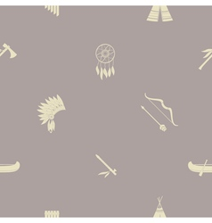 Seamless background with american indian icons vector image