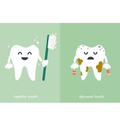 healthy and decayed tooth vector image