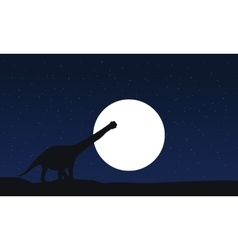 Argentinosaurus scnery silhouettes at vector