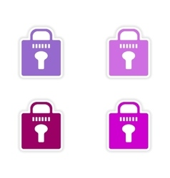 assembly realistic sticker design on paper lock vector image vector image