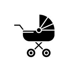 Baby carriage icon black vector