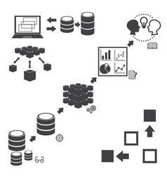 Big data icons set data mining concept vector