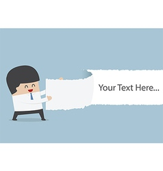 Businessman ripped the paper with text on blank po vector image