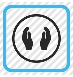 Care hands icon in a frame vector