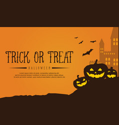 castle and pumpkin background for halloween vector image vector image