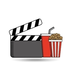 clapper movie pop corn design vector image