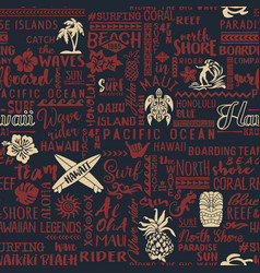 classic surfing hawaiian islands wallpaper vector image
