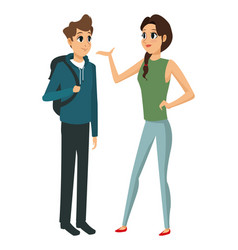 couple young talking communication vector image