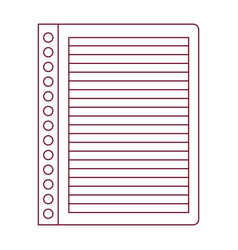 Dark red line contour of striped notebook sheet in vector