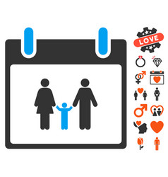 Family calendar day icon with dating bonus vector