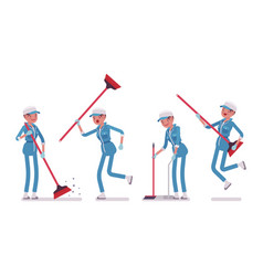 Female janitor sweeping the floor with a broom vector