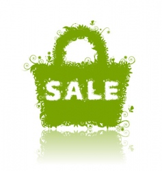 floral shopping bag sale vector image