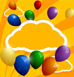 Flying balloons on a background of clouds vector