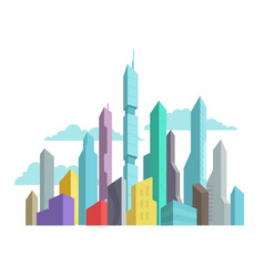 Future invented city skyscraper panorama high-rise vector