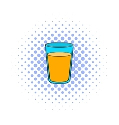 Glass of orange juice icon comics style vector image