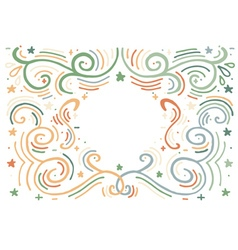 Hand drawn vintage print with decorative outline vector