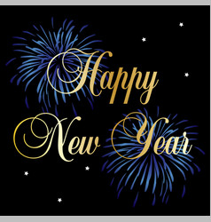 happy new year typography graphic with fireworks vector image
