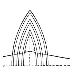 Lancet arch keystone vintage engraving vector
