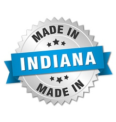 Made in indiana silver badge with blue ribbon vector