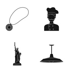 Medallion chef and other web icon in black style vector