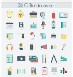 Modern flat design color office icons web vector
