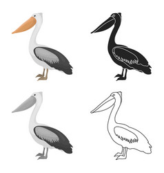 pelican icon in cartoon style isolated on white vector image vector image