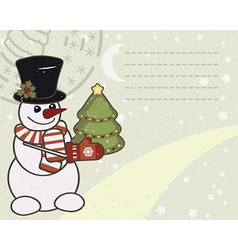 Retro Christmas card with a snowman vector image