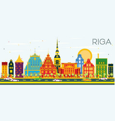 Riga skyline with color buildings and blue sky vector
