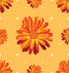 Seamless orange pattern with flowers vector