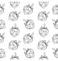 Seamless pattern of vintage hand drawn heart balls vector