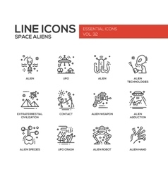 Space Aliens - line design icons set vector image