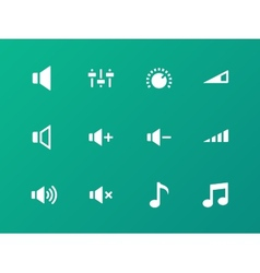 Speaker icons on green background Volume control vector image vector image