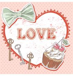 Valentine romantic retro card vector image vector image