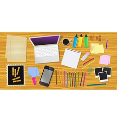 Work desk with office stationery vector