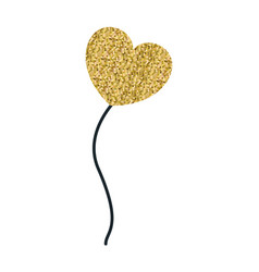 Yellow pixelated color silhouette balloon in heart vector