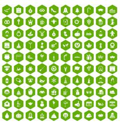 100 holidays icons hexagon green vector