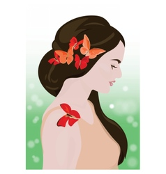 Beautiful Girl with butterflies vector image