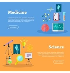 Medicine and science web banners vector