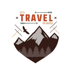 Vintage adventure hand drawn label design let s vector
