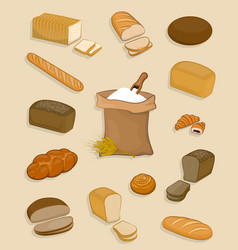 Set of bakery and confectionery on a white vector