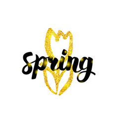 Gold spring tulip greeting vector