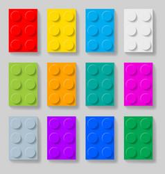 Set of colorful plastic construction kit blocks vector