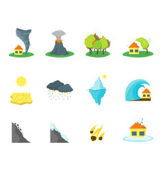 cartoon natural disaster color icons set vector image