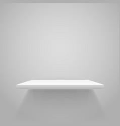 white empty shelf on grey wall mockup vector image