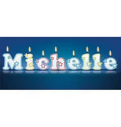 Michelle written with burning candles vector