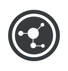 Round black molecule sign vector