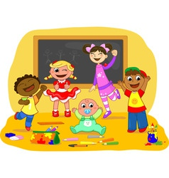 Happy kids in a school class vector