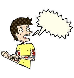 Cartoon man with tattoos with speech bubble vector