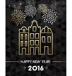 New year 2016 amsterdam netherlands travel gold vector